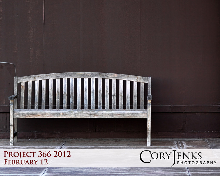 Project 366: February 12 - Vacant Bench. Waiting for someone to take a moment and sit a spell. Long wait when the temperature doesn't get above 30 degrees.