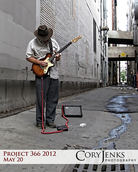 Project 366: May 20 - Alley Rock. Downtown Denver always provides photo oportunities to capture life happening around us. I love street performers, for they do not do it for the money, but for the expression of their art.