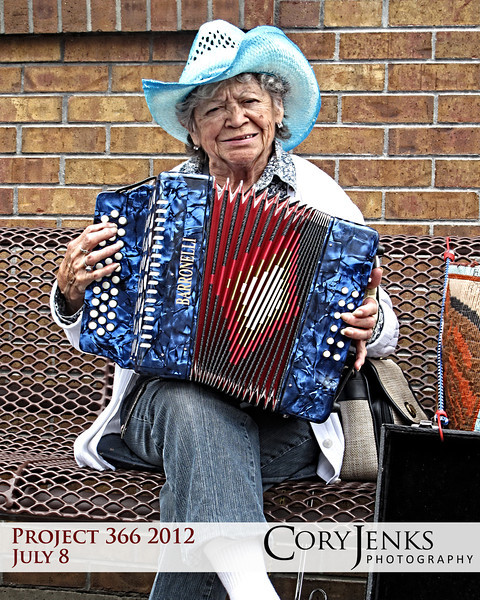 Project 366: July 8 - Accordion Sounds. This old gal was squeezing some sweet sounds from her accordion.