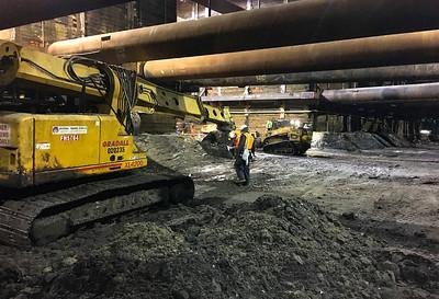 Wilshire/Fairfax Station excavation, January 2019