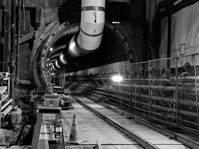 One of two tunnels inside Wilshire/La Brea Station.