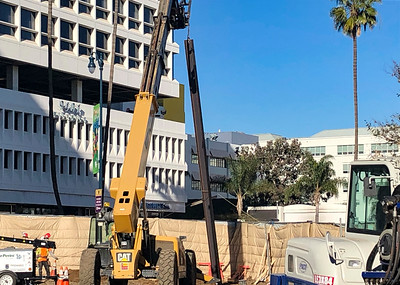 Work at Wilshire/La Cienega Station, Jan. 2019