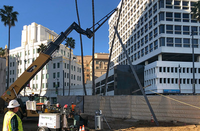 Moving the excavated material to the removal shaft within the Gale Staging Yard at Wilshire/La Cienega Station.