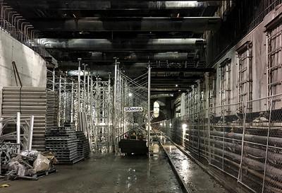 Building the concourse deck inside Wilshire/La Brea Station.