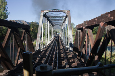 "Departing Durango northbound, 15th Street bridge from rear platform of the ""Cinco"""