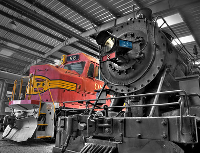 Two generations: Baldwin with Santa Fe EMD FP-45, 1967 Orange Empire Railway Museum, Perris, CA