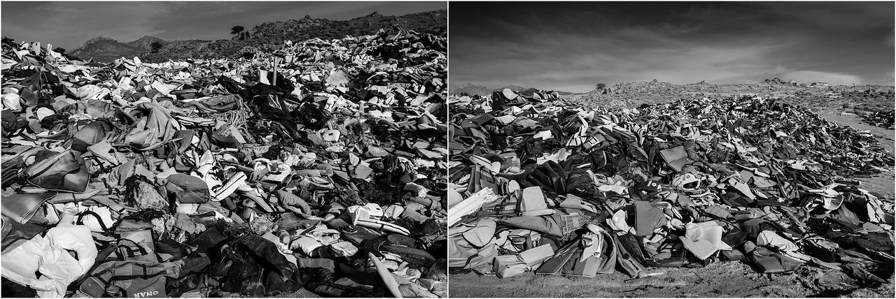 2016/2017<br /> Mountain of life jackets and boats, still there. Lesvos Island, Greece.<br /> ------<br /> Montagne de gilets de sauvetage et bateaux pneumatiques, toujours là. Ile de Lesbos, Grèce.