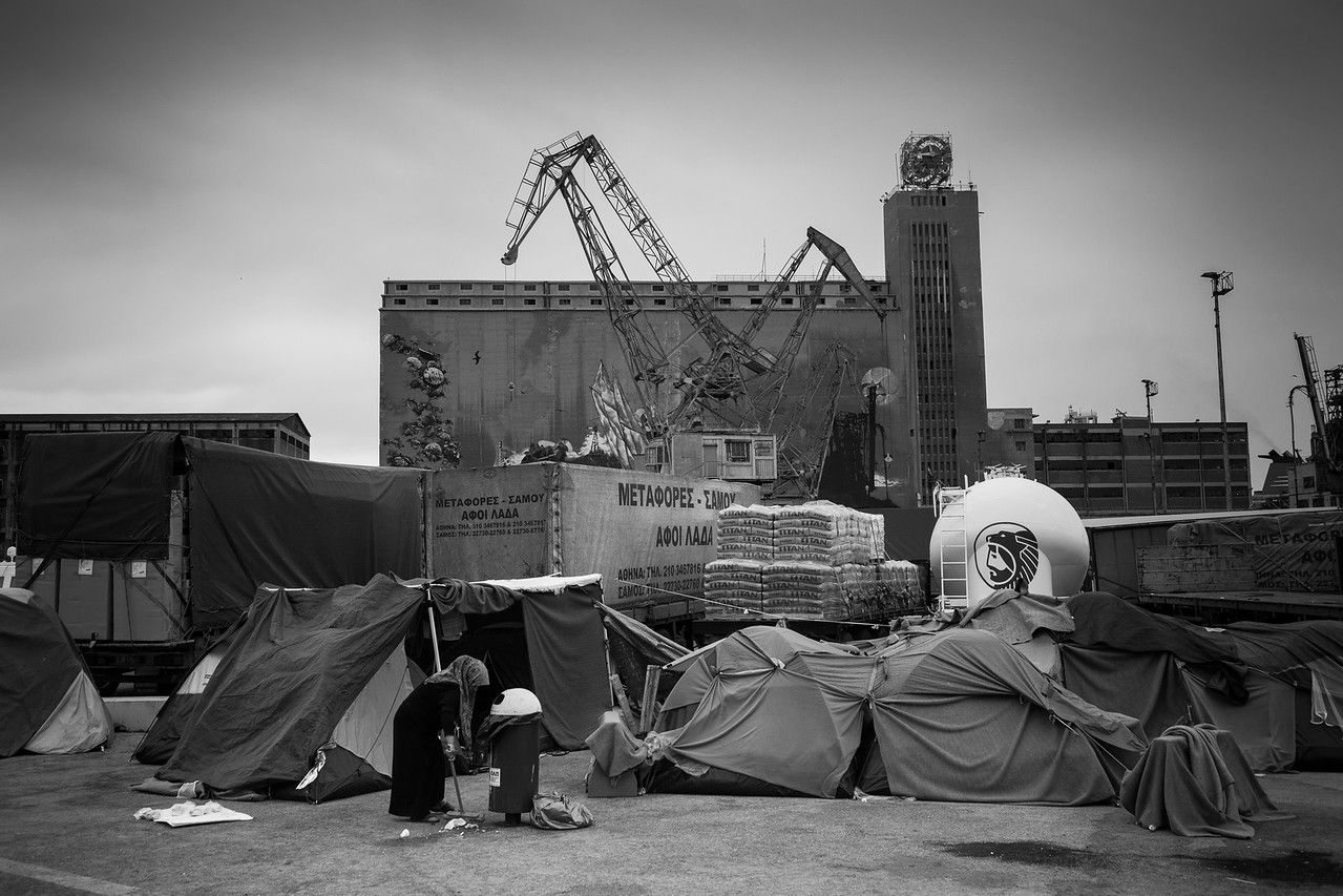 The improvised camps and makeshift tents that sprawled among the ports have since then been moved out after the whole place was acquired by a Chinese conglomerate. <br /> <br /> Port of Piraeus, Athens, Greece. May 2016