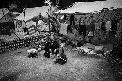 Some of the refugee camps show extremely difficult living conditions for its inhabitants like the camp of Ristona in the woods.  Ritsona, Greece. May 2016.