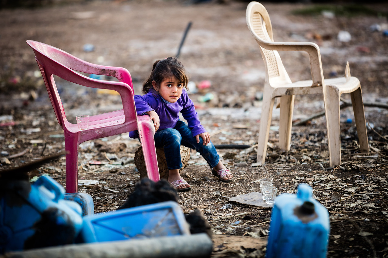 That really sad little girl just had a fight with her brother during the day. Normal life goes on and not all sadness comes from tragic stories. Bekaa Valley, Lebanon.