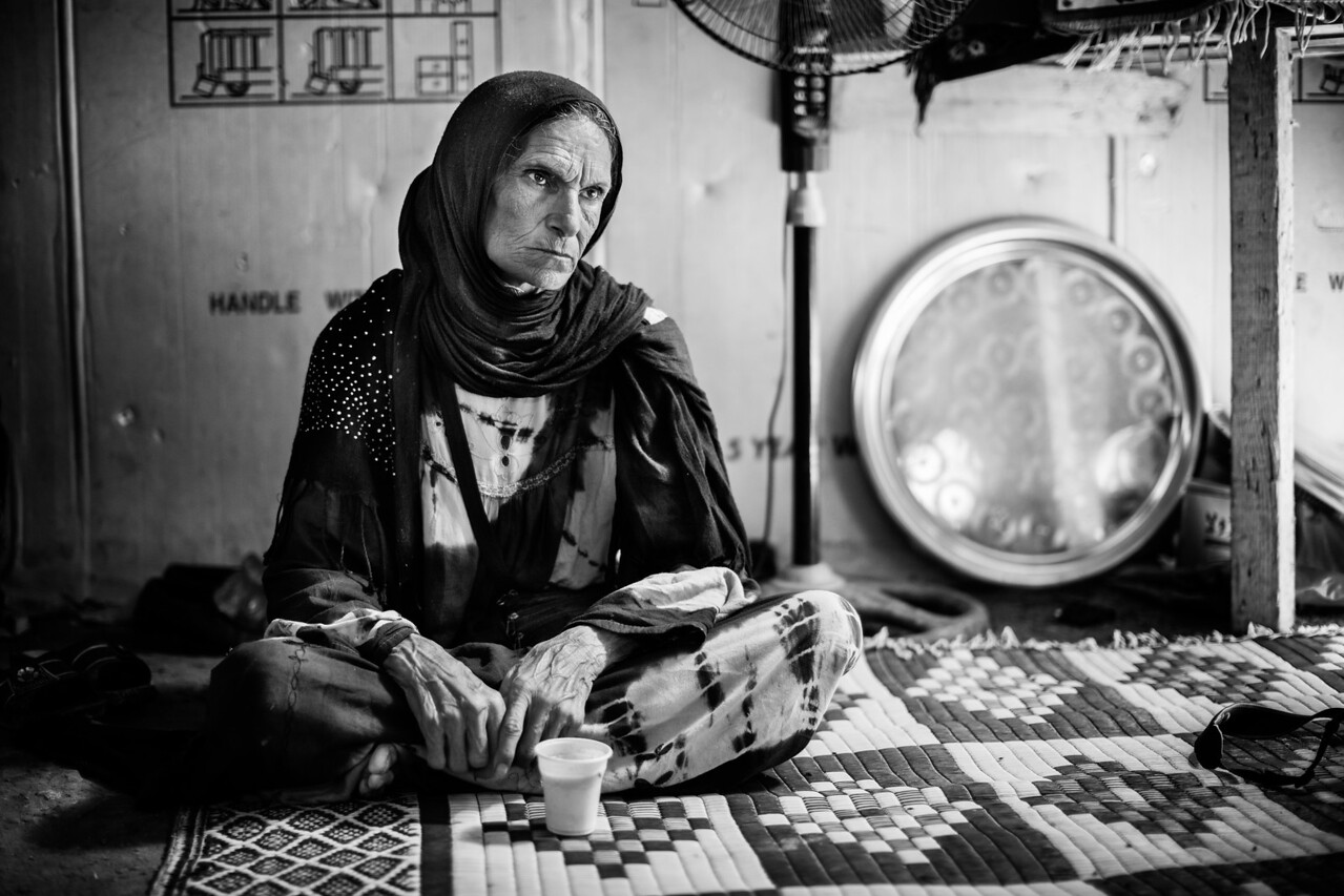 Having lost her husband days ago in a car accident, she lost at the same time her mean of transportation to get to the hospital where she receives dialysis treatments regularly. NGOs do not operate in those camps. Akkar district, Lebanon.