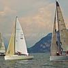 Le tre barche primeggiano per virare in boa