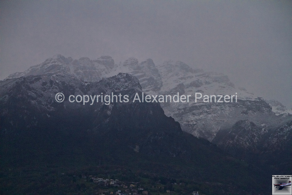 The notorious mountain in the Manzoni's book: Resegone covered by the last snow. copyright © photo Alexander Panzeri