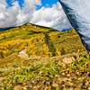 Day 201 (2 of 2)<br /> Hippie Hill, Crested Butte<br /> <br /> Ahhh, fall! I love fall dearly! I love the crisp air, the amazing colors which I obviously punched a lot in this shot, although when I think about them, this is what I see. Brilliant blues, bright whites, amazing golds, stunning greens. Wow! My breath is taken away every day in the fall!