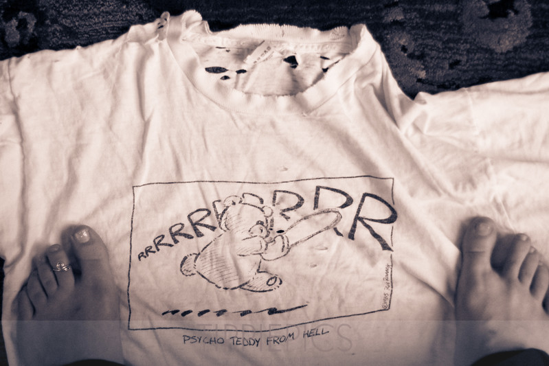 "Day 249<br /> Home<br /> ""Psycho Teddy From Hell - Retired""<br /> <br /> Retiring one of my favorite t-shirts... :("