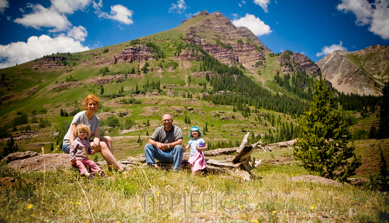"Day 129 (2 of 2)<br /> Pearl Pass Road<br /> ""Family portrait at 12,000 feet"""