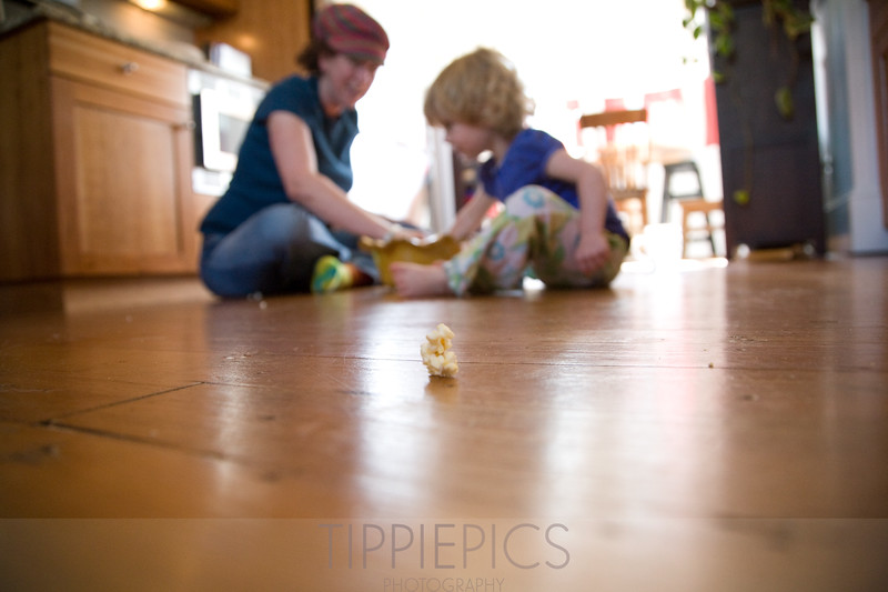 Day 197<br /> Home<br /> <br /> The girls LOVE popcorn! Probably because I rarely make it. LOL! We usually sit on the floor and eat it up. Gunther cleans the floor after we're done - works out well!