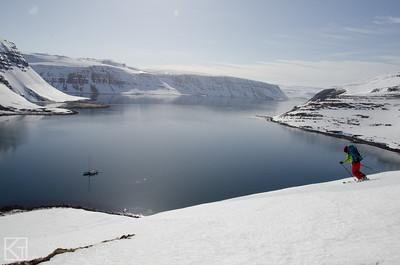 Martha Hunt skiing perfect corn in Iceland.