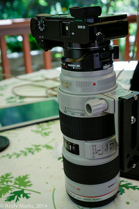 Best to hold the lens bracket and just push the camera's buttons