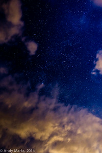 clouds obscuring the milky way and a meteor, but they give the images depth