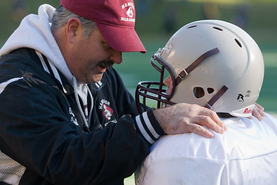 Coach Mike Campbell from the Hanover Marauders 4/5/6 team has a heart-to-heart with one of his players