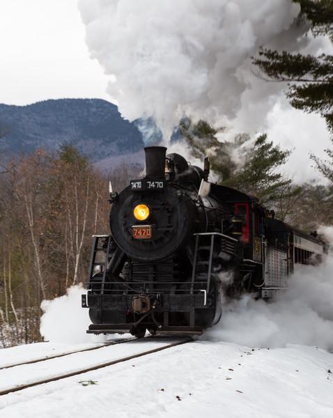 7470 Steam locomotive at Rogers Crossing- Run 2