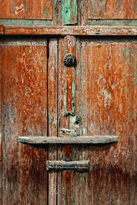 Old wooden door nailed shut