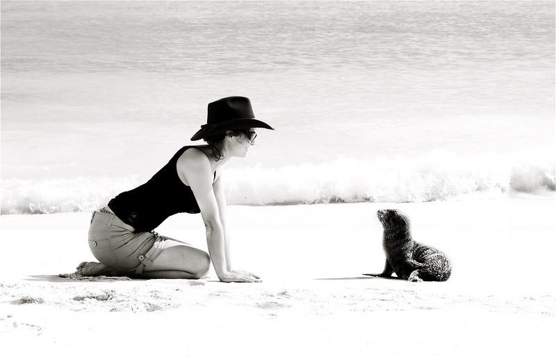 The photographer and the sea lion! ~ Espanola