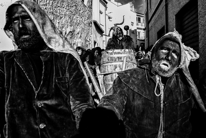 February 2018- Lula, Sardinia – Italy. During the carnival the streets are animated by Battileddu, accompanied by other men wearing black rags.