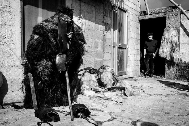 February 2017- Ula Tirso, Sardinia – Italy. Carnival participants wear masks and costumes, each resembling a different farm animal and representing the struggle between animal instinct and human reason. In Ula Tirso, the main mask wears a whole boar skin.