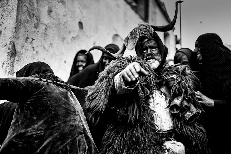February 2016- Lula, Sardinia – Italy. Antonio Marras, plays Su Battileddu, one of the most impressive carnival masks Sardinian. His face is covered with blood and blackened by soot, the body covered with sheepskins. The whole celebration is a pagan propitiation rite, representing a sacrifice to appease the gods for a fertile year.