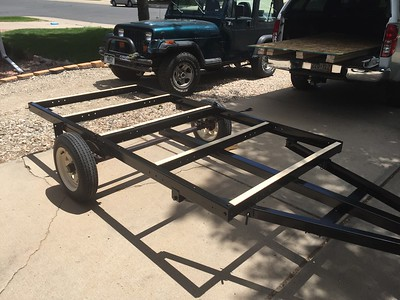 Used trailer from craigslist.  I modified by welding extension pole for front hitch