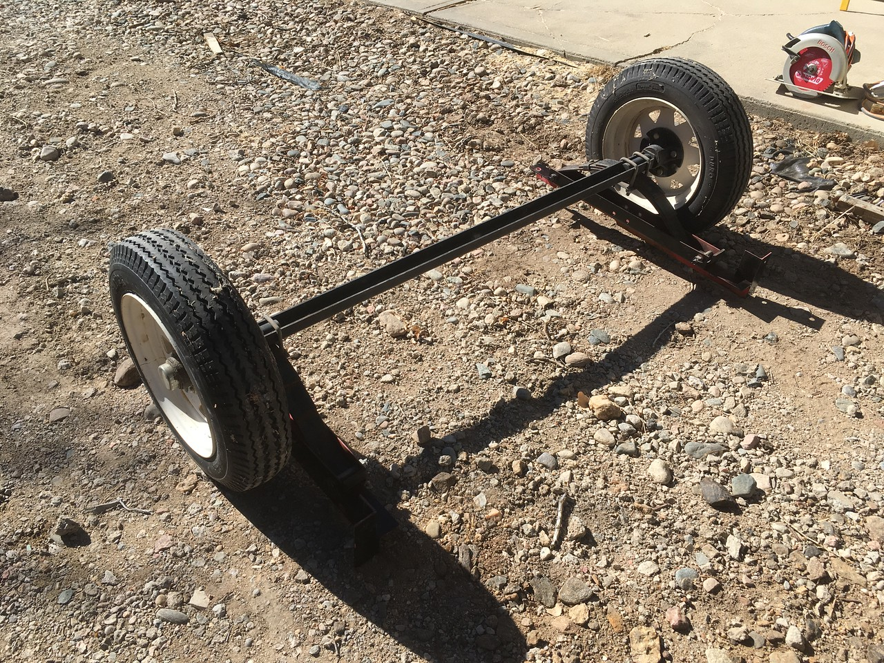 The old harbor freight axle.  Too wimpy for my trailer!