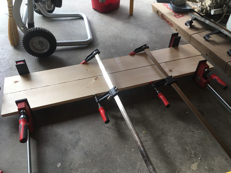 Gluing up pine for the hatch