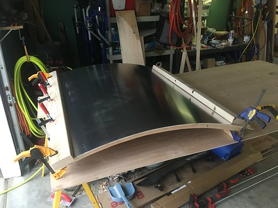 "Gluing the .040"" aluminum skin onto the hatch"