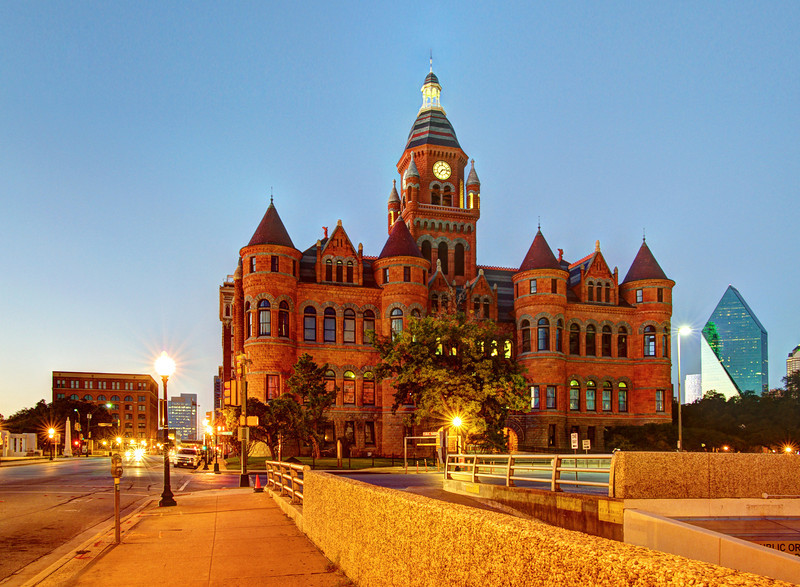Book Depository (left), Dallas County Old Red Courthouse, Fountain Place (right), Dallas, TX (Oct 2012, HDR)<br /> Published in Angie's List Magazine, Dallas edition, February 2014, Vol. 10, Issue 7 and multiple following issues