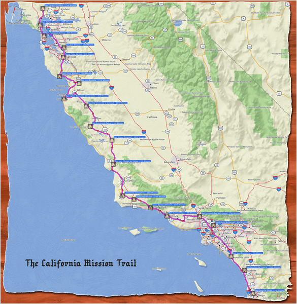 The California Mission Trail Map and Backstory of The Mission ... on