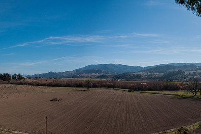The view from the parking lot. You can see why this spot was chosen as the location for the Santa Ines Mission.