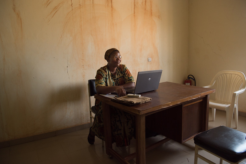 Ouagadougu, Burkina Faso. A doctor in her office in the Ouagadougu hospital.