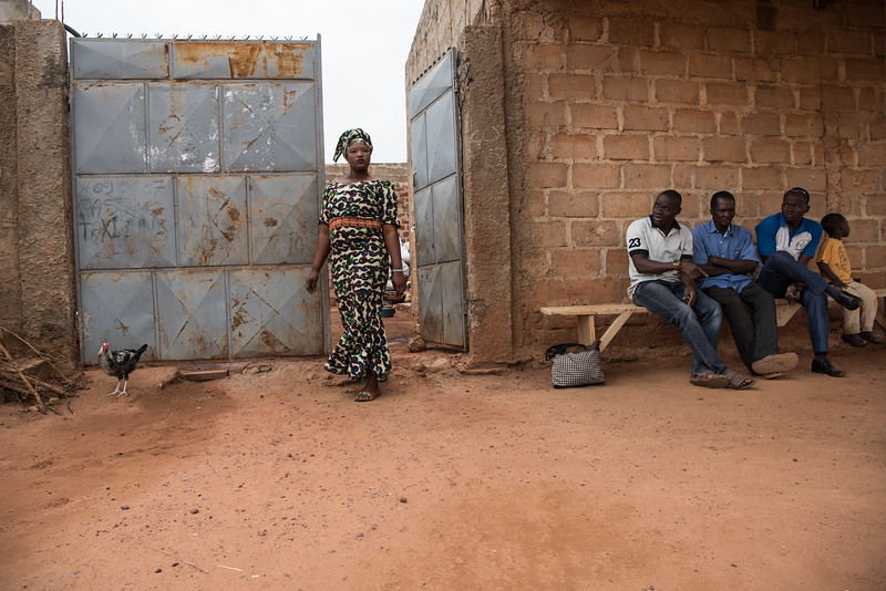 Bobo Dioulasso, Burkina Faso. Patients waiting outside a dispensary at a rural hospital.