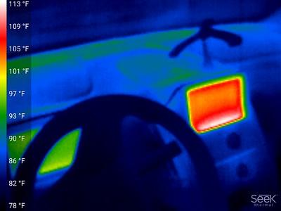 Dash & wheel cool,  Center console is around 107 F,  other display around 95F, dash 87 F