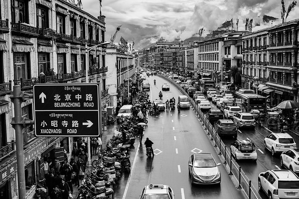 A traffic jam on Bejingzhong Road, the road to the Potala Palace located in Lhasa, TAR on July 22, 2018.