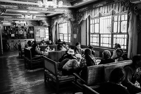 Families gather for meals at a local Tibetan restaurant in Lhasa, TAR on July 24, 2018.