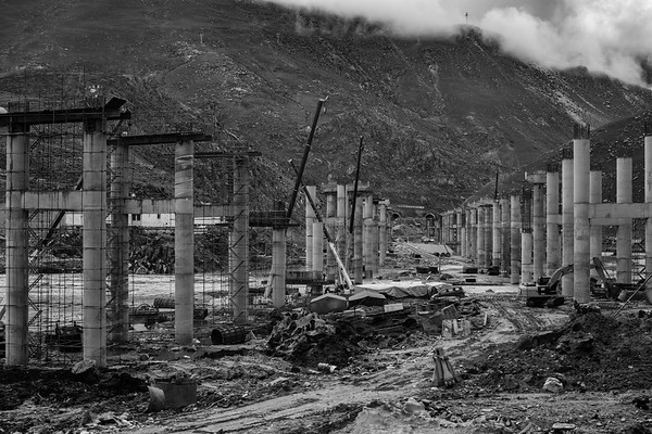 A bridge is in the process of being built in the Tibet Autonomous Region in July 2018.