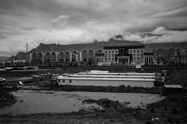 A construction zone on the outskirts of Lhasa, the capital city of Tibet Autonomous Region, in July 2018.