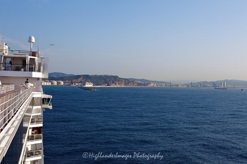 Arriving into Barcelona harbour, Barcelona, Spain