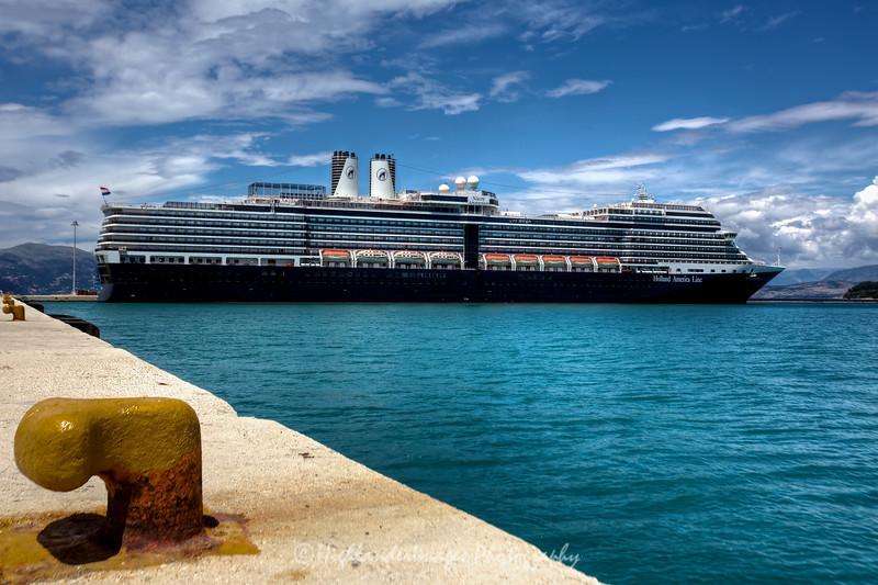 Nieuw Amsterdam at dock in Kerkira, Corfu, Greece