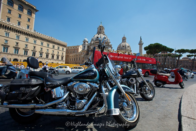 Harley Davidsons at the National Monument of Victor Emmanuele II, Rome, Italy