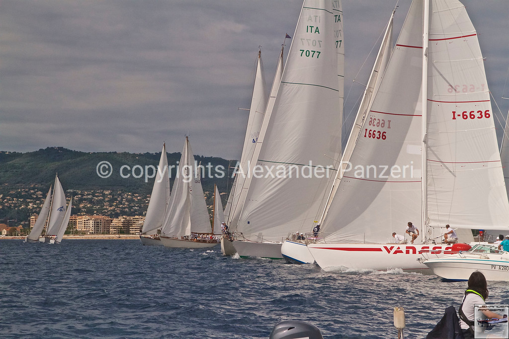 Departure with Vanessa I-6636 on left tack with the rest of the fleet in opposition copyright © photo Alexander Panzeri