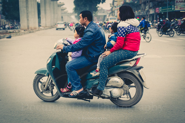 A family on a motorbike